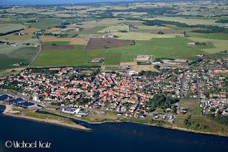 Photo: Den lille byen Hasle nord for Rønne