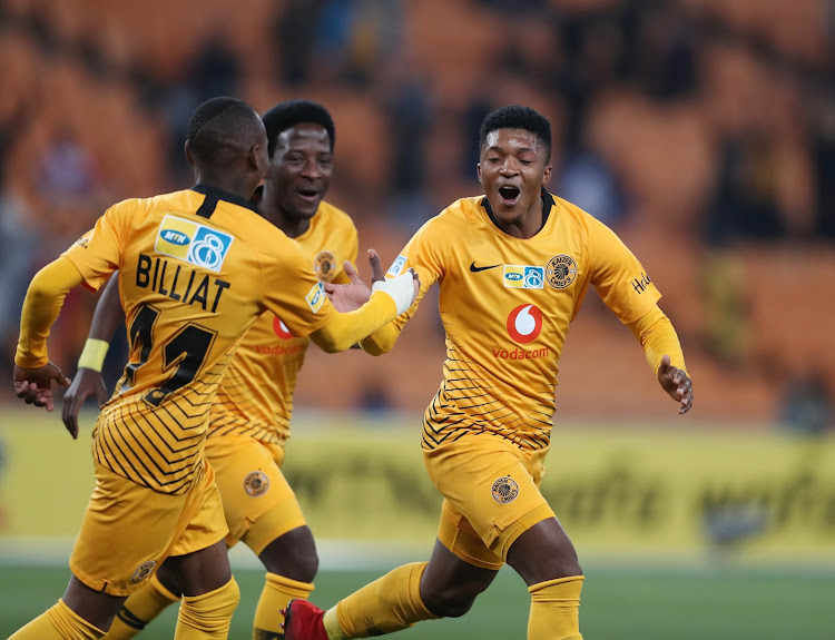 Kaizer Chiefs attackers Khama Billiat and Siphelele Ntshangase celebrate with goalscorer Dumisani Zuma who scored the first of three goals in a stunning 3-0 win over Free State Stars at FNB Stadium on Saturday August 11 2018.