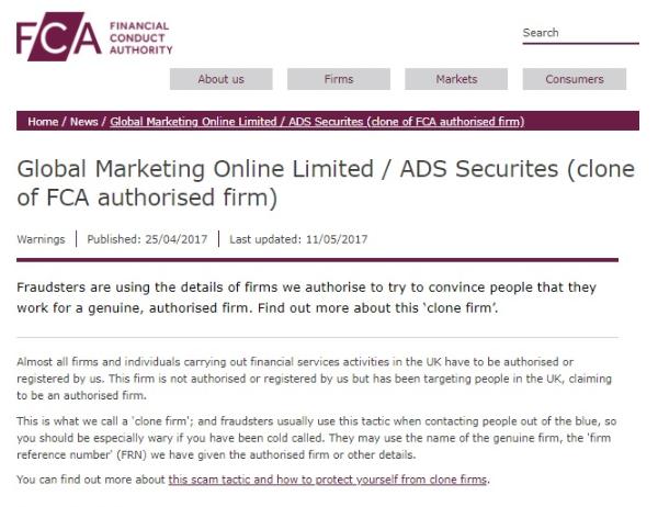 Image of FCA Warning