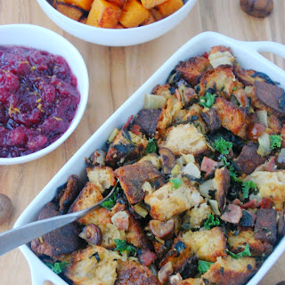 Chestnut Stuffing with Kale and Turkey Bacon Recipe
