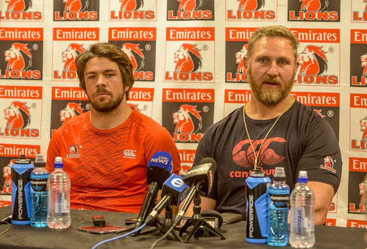 Coach Johan Ackermann of the Lions (right) and captain Warren Whiteley address a media conference in Johannesburg on Thursday. Picture: GALLO IMAGES
