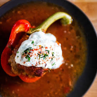Whole30 Approved Lamb Stuffed Peppers { Turkish Dolma }.