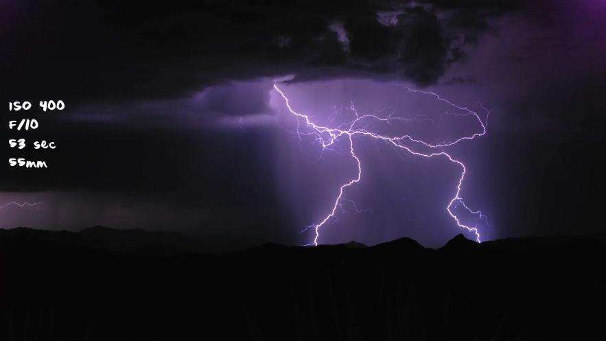 Lightning photograph captured using a long shutter speed.