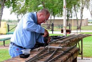 Photo: Bill Howe builds two switches for the two center tracks of the engine barn.    HALS Public Run Day 2013-0921 RPW