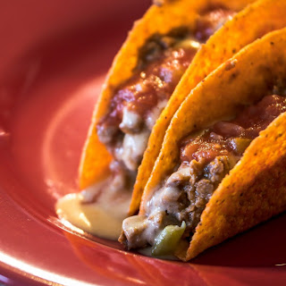 Wedge Breaker Spicy Beef Taco with Hatch Chile Beer Cheese Sauce.