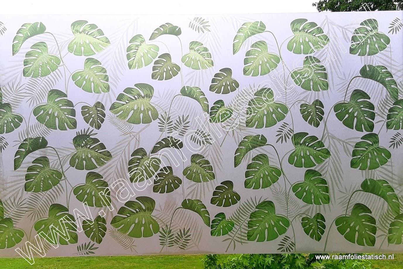 Raamfolie tropische bladmotieven