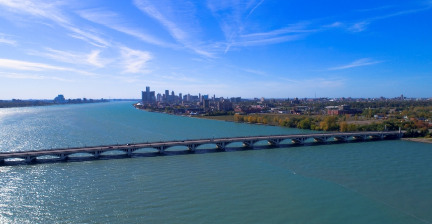 MacArthur Bridge on the Detroit River
