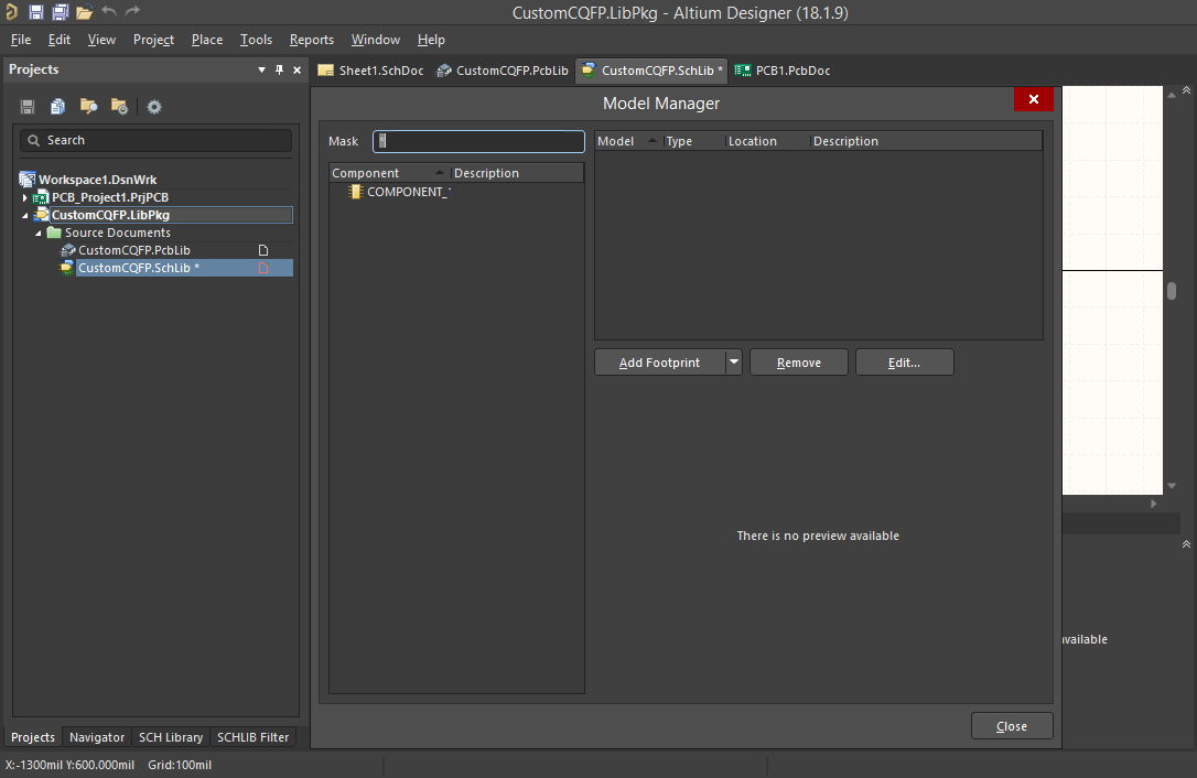 """Screenshot of the Model Manager dialog in Altium  Der Dialog """"Model Manager"""" in Altium Designer"""