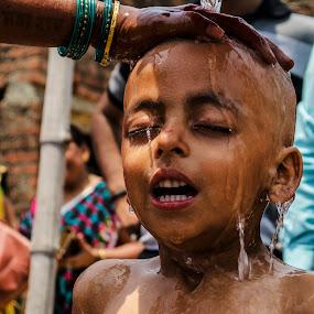 by Shishir Pal Singh - Babies & Children Children Candids ( indian culture, ritual, asia, bath, children, india, culture )
