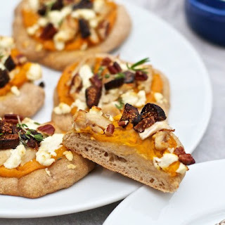 Sweet Potato, Goat Cheese, Turkey & Fig Pizzas.