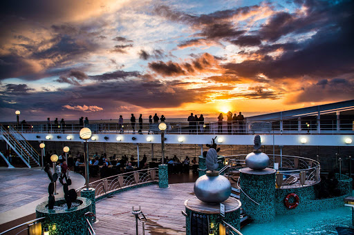 The Lido Deck of MSC Magnifica at sunset.