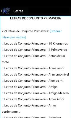 Conjunto Primavera Letras - screenshot