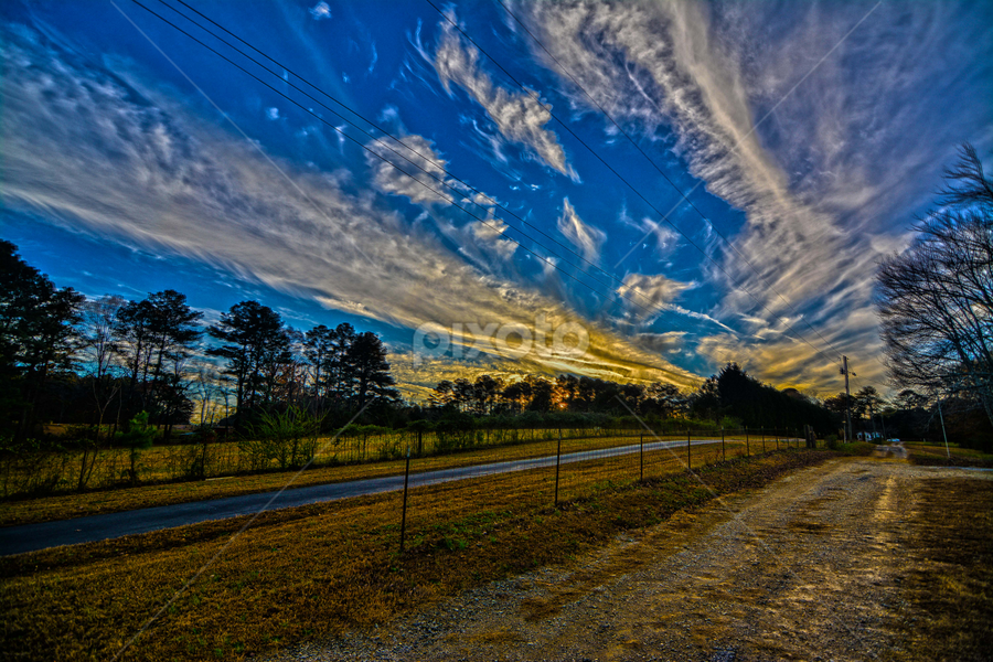 Country road Sunset by Andrew Savasuk - Landscapes Sunsets & Sunrises ( clouds, sky, sunset, country )