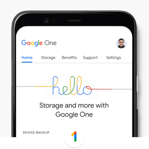 A phone shows the Google One interface