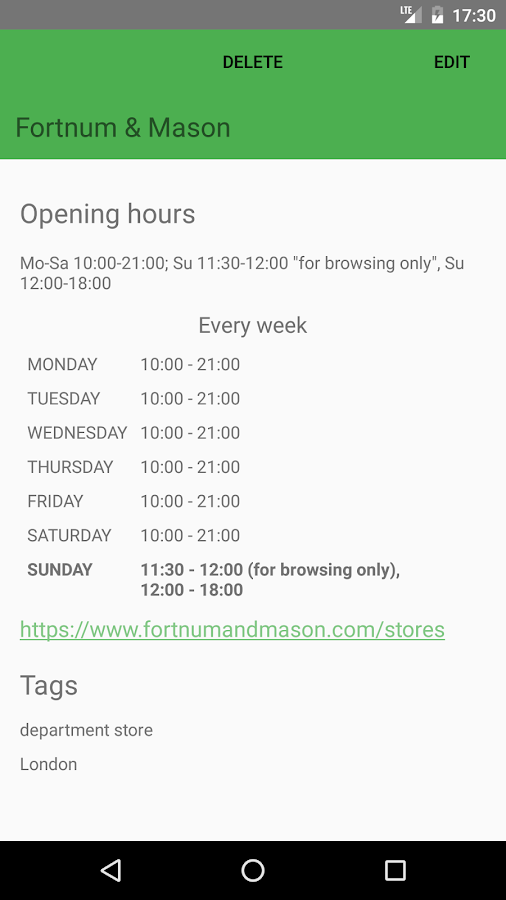 My Opening Hours- screenshot