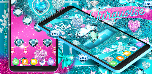 Turquoise themed wallpapers with diamonds to make it elegant and luxurious.