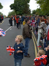 Photo: Young and Old on Mill Road, readying themselves for the Olympic Flame - Cambridge 2012