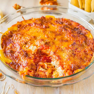 Baked Triple Cheese and Salsa Tortilla Chip Dip.