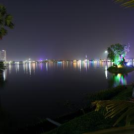 An Evening in Park by Kuntal Das - City,  Street & Park  Amusement Parks ( lights, water, park, sunset, night, travel, river, city,  )