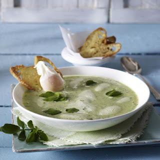 Zucchini and Watercress Soup with Poached Egg