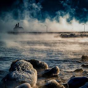 Wisps of Avalon by Glen Sande - Landscapes Beaches ( duluth, mn, pentax a 50mm macro f2.8, winter, canal park, sea smoke, 2016, norfinlight, pentax k1, glen sande )
