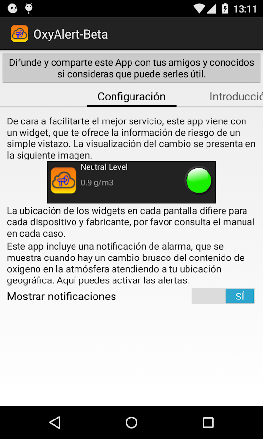 OxyAlert Beta: captura de pantalla
