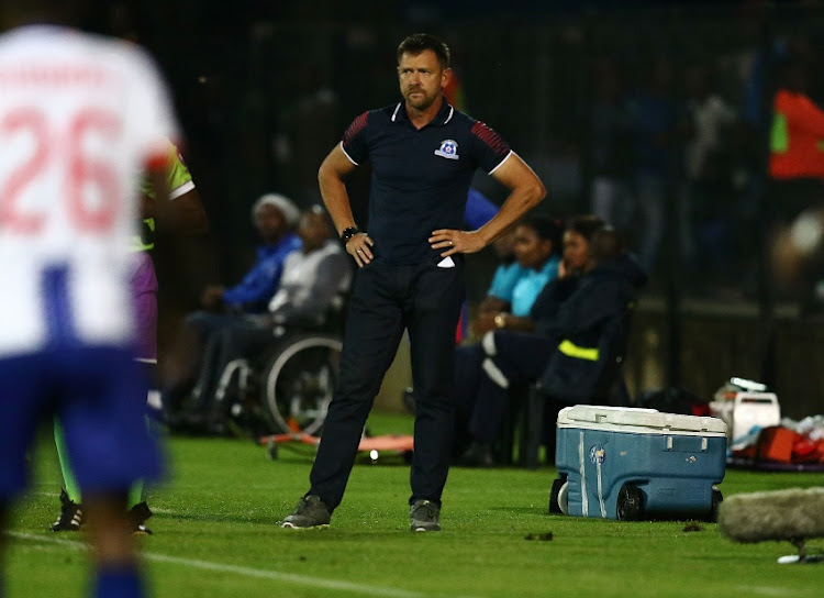 Eric Tinkler of Maritzburg United during the Absa Premiership match between Maritzburg United and Mamelodi Sundowns at Harry Gwala Stadium on March 12, 2019 in Pietermaritzburg, South Africa.