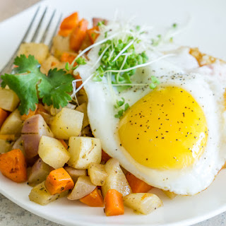 Vegetable Hash with Fried Egg.