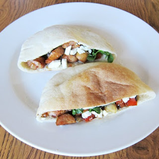 Stuffed Pita Pockets Recipe With Turkey Sausage, Peppers And Feta Cheese