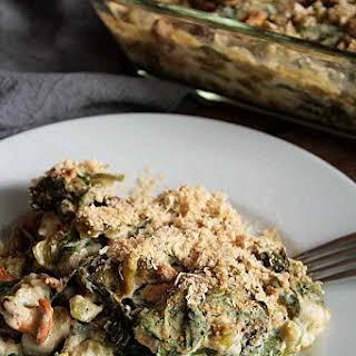 Creamy Spinach Spätzle Casserole with Chanterelles.