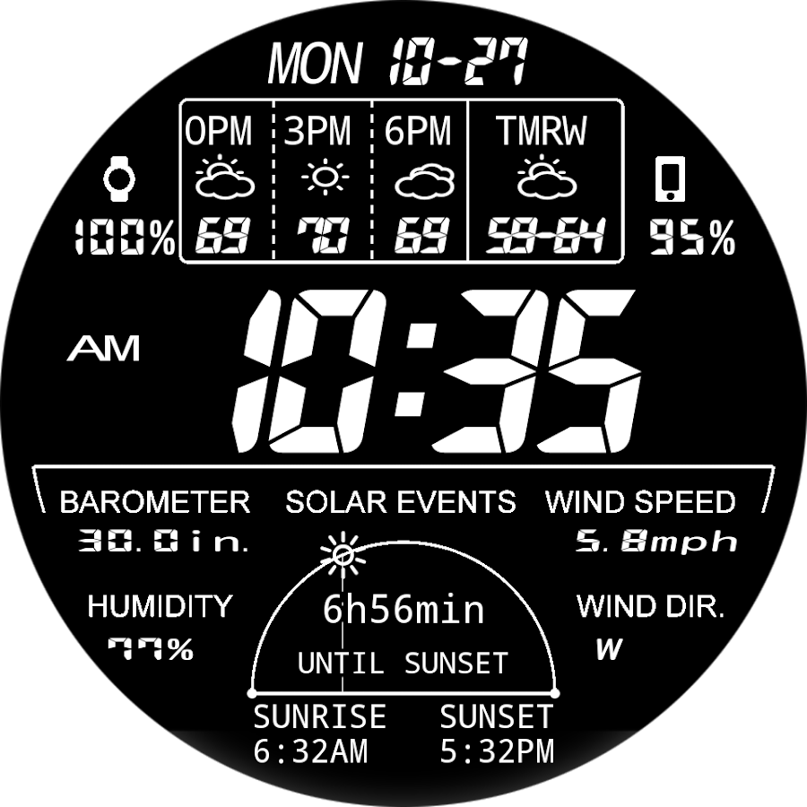 F03 WatchFace for Android Wear Smart Watch- screenshot