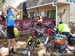 Photo: Perry, Stuart, Mike and bikes at Scadden on our ride from Esperance to Perth