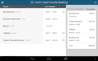 Screenshot of GE Credit Union Mobile Banking