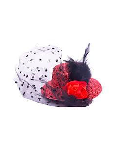 Minihatt med flor, röd