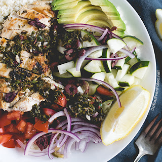 Mediterranean Chicken & Cauliflower Rice Bowl.