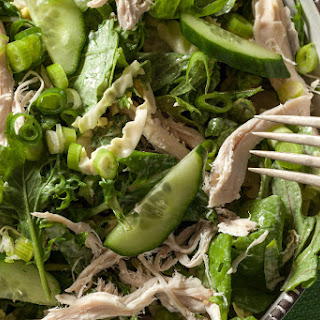Chicken and Greens Salad with Tahini Dressing