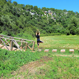 Yoga_Vrikshasana by Svetlana Saenkova - Sports & Fitness Other Sports ( wooden bridge, yoga, asana,  )