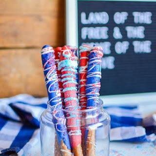 Patriotic Candy Dipped Pretzels.