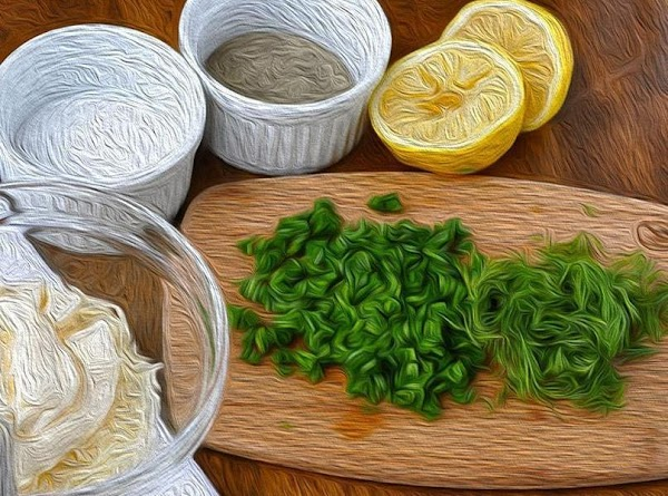 Whisk all the ingredients together, with the exception of the chives.