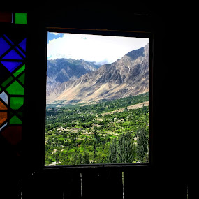 Beyond the window by Zubair Chana - Instagram & Mobile Android ( mountain, view, green, tree, window, beautiful valley, scenery, meadow, prairie, frame )