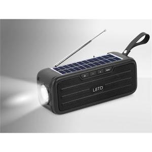 Radio portabil cu panou solar, Bluetooth L8TD, 3.7 V, 10W, 1200 mAh