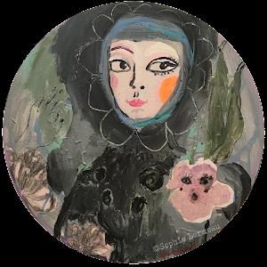 Romance-peinture-rond-rondo-sophie-lormeau-sophielormeau-painting-peinture-lady-femme-in-love-lover-amoureuse-portrait-contemporary-art-artist-contemporain-tableau-peinture-acrylic-lady-fleur-portrait-black-noir-corolle-reveuse-visage-regard-yeux-eyes-flower-