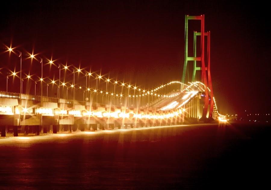 Suramadu @night by Bagoes Wahjoedi - Landscapes Travel ( suramadu, sea, night, bridge, light )