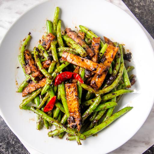 Stir-Fried Green Beans with Veggie Chops