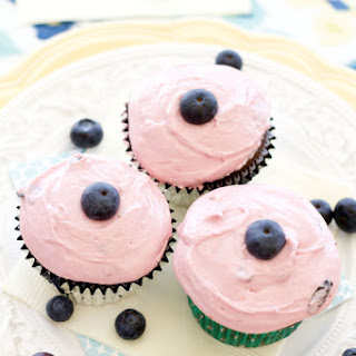 Milk Chocolate Cupcakes with Blueberry Frosting