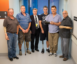 Photo: Steven Gray, Director of the Alfred Osseointegration Unit with five of his patients:  Peter Eberle, Gavin Jarvis, Mark Lesek, Greg Price and Peter Taylor.