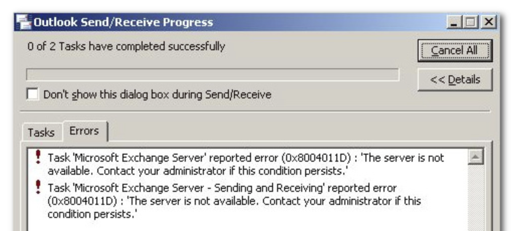 """[Solved] How to Fix Outlook Send and Receive Progress Task Reported Error (0x8004011D) """"The server is not available"""""""