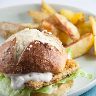 Vegan Fish Burger with homemade Pretzel Rolls.