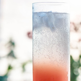 a Rhubarb Gin Cocktail with black pepper and grapefruit.
