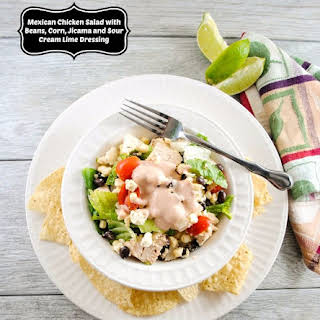 Mexican Chicken Salad with Black Beans, Corn, Jicama and Sour Cream Lime Dressing.